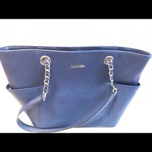 Calvin Klein Mercury Larger Blue Leather Tote.